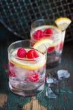 自创被击碎夏天冷的莓柠檬的鸡尾酒与苏打水和冰在葡萄酒背景的玻璃 库存图片