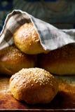 自创软的全麦汉堡小圆面包 土气的样式 免版税库存照片
