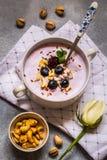 自创酸奶用新鲜的蓝莓和坚果 免版税库存图片