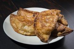 自创金枪鱼和蕃茄饼-西班牙传统开胃菜 免版税库存照片