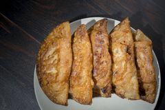 自创金枪鱼和蕃茄饼-西班牙传统开胃菜 库存照片