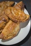自创金枪鱼和蕃茄饼-西班牙传统开胃菜 免版税库存图片