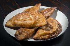 自创金枪鱼和蕃茄饼-西班牙传统开胃菜 免版税图库摄影