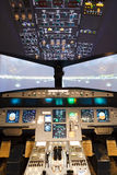 自创飞行防真器驾驶舱 免版税库存图片