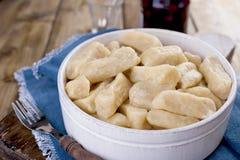 自创饺子用乳酪和香草 在一个土气样式,在一个陶瓷杯子 食物健康素食主义者 家庭烹饪 俄语 免版税图库摄影