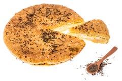 自创饼用在白色背景的小茴香 库存图片