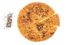 自创饼用在白色背景的小茴香 免版税库存照片