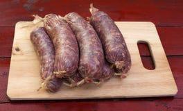 自创香肠-猪肉充塞用肉末 免版税库存照片