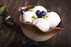 自创香草冰淇淋瓢 免版税图库摄影