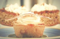 自创香草杯形蛋糕和两块蛋糕与香草cre的 库存图片