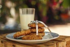 自创麦甜饼用牛奶 免版税库存照片