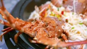 自创龙虾面条用乳酪 免版税图库摄影