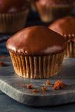 自创黑暗的巧克力杯形蛋糕 免版税库存图片