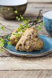 自创素食主义者松饼用葡萄干和谷物 免版税库存图片