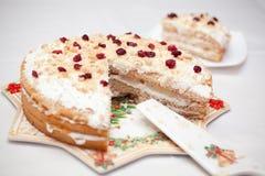 自创Cranberrie的蛋糕 免版税库存照片