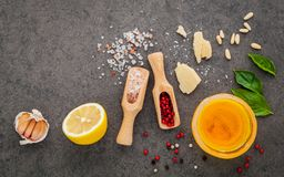 自创pesto的成份调味蓬蒿,帕尔马干酪 免版税库存照片