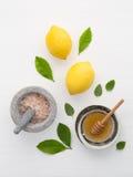自创skincare概念、腌制槽用食盐、柠檬、蜂蜜浸染工和mi 库存照片