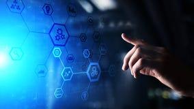 自动化在虚屏上的系统结构 聪明的事概念制造技术和互联网  库存例证