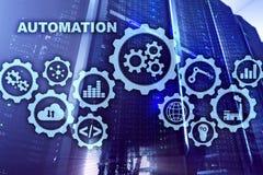 自动化生产率上升概念 在服务器室背景的技术过程 向量例证