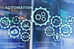 自动化生产率上升概念 在服务器室背景的技术过程 皇族释放例证