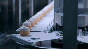 自动化的技术概念-有圆锥形的冰淇淋杯的传送带在食物工厂 股票录像