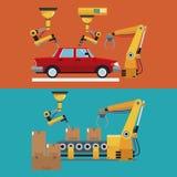 自动化的生产线机器人工厂横幅 库存例证