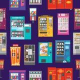 自动售货机传染媒介贩卖食物或饮料和供营商机械技术买快餐或喝例证集合 库存例证