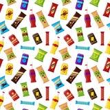 自动售货机的无缝的样式快餐产品 快餐快餐,饮料,坚果,芯片,供营商机器酒吧的汁液 向量例证
