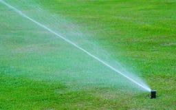 自动喷雾器浇灌的草地 免版税库存照片