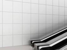 自动扶梯,在公共建筑的自动扶梯上下 办公楼或地铁站 3d翻译 库存图片