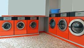 自动投入硬币后自动操作的洗衣店 库存照片