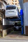 自动汽车停车处系统在拥挤城市使能优选空间在Shinagawa区,东京,日本 免版税库存图片