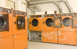 自动洗衣店设备洗涤物 库存照片
