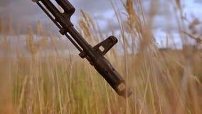 自动炮被聚焦的,特写镜头炮眼在高草的和使变暗的天空背景,空的区域例证 影视素材