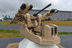 自动短程防空系统Rheinmetall的新理念使用MBDA密斯脱拉风导弹的 免版税库存图片
