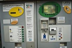 自动票自动售货机在赫尔辛基,芬兰 库存图片