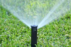 自动草坪喷水隆头 免版税库存图片
