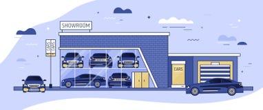 自动陈列室或车地方发行和汽车门面在它旁边停放了 汽车现代大厦  库存例证