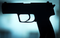 自动9mm手枪手枪武器 免版税库存图片