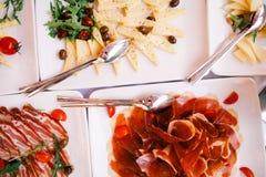 自助餐开胃菜食家顶视图 库存图片
