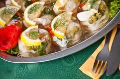 自助餐样式用卤汁泡的鱼 库存图片