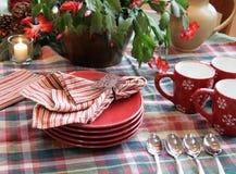 自助餐设置表冬天 免版税图库摄影