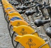 自助Villo黄色自行车在布鲁塞尔 库存照片
