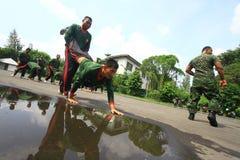 自卫技术训练警卫的 免版税库存图片