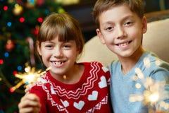 自圣诞前夕的孩子 免版税库存图片