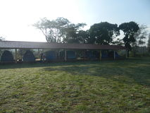自已被搭建的棚子和帐篷 图库摄影
