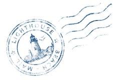 邮票灯塔海滩邮件(难看的东西设计) 免版税库存照片