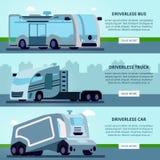 自治无人驾驶的车横幅 向量例证