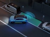 自治SUV是平行的停车处入停车场在路旁 向量例证