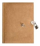 自然上色了与锁和钥匙的减速火箭的日志书 库存照片